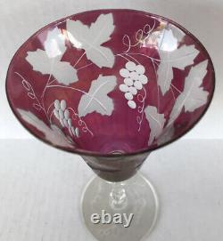 Vintage Wine Goblets Cranberry Flash Cut Crystal Frosted Grape Set Of 7