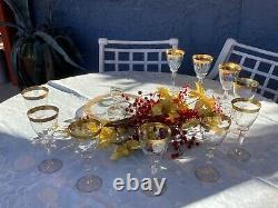 Vintage set of 10 gold rimmed wine glasses with appetizer plate