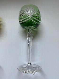 Vtg German Bohemian Lead Crystal Wine Glasses Goblets Set Of 6 Cut to Clear A++
