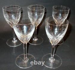 Vtg SET 5 BACCARAT Harcourt Crystal RED WINE STEMS GLASSES Stems France BAR