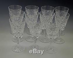 Vtg Waterford Ireland Crystal Ashling Cut Set Of 11 White Wine Goblets, 5.1/2