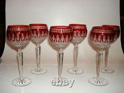 WATERFORD CLARENDON RUBY RED CUT 2 CLEAR WINE HOCK /GOBLET, NEW, SIGNED 6 pc Set