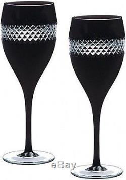 WATERFORD CRYSTAL John Rocha Black Cut Red Wine Glasses Set of 2