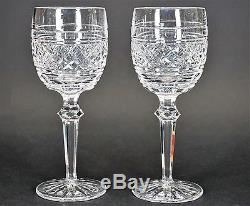 WATERFORD Cut Castletown Crystal 7 1/8 Claret Wine Glass Glasses Set of 2