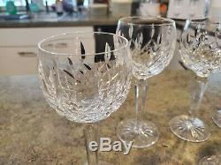 WATERFORD Ireland Wine Hock Crystal Glass Goblets Stems LISMORE 7.5 Set of 8