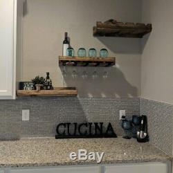 Wall Mount Wine Bottles Rack With Glass Holder Bar Accessories 3 Shelf Set Decor