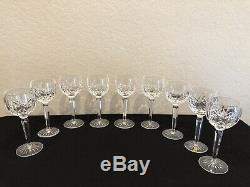 Waterford Crystal 7 1/2 Lismore Wine Hock Glasses Set Of 9 Made in Ireland