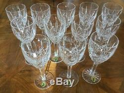 Waterford Crystal Araglin Pattern Set of 12 wine Glasses Excellent Condition