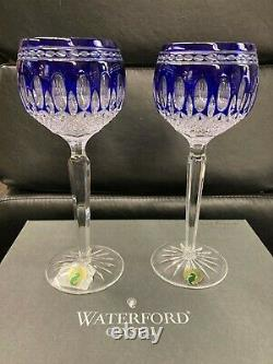 Waterford Crystal Clarendon Cobalt Blue Wine Hock Glasses Set of 2