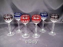 Waterford Crystal Clarendon Wine Hock Goblets Colbalt, Amethyst, Ruby Set of 6