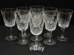 Waterford Crystal Lismore 6 7/8 Water Goblets Set of 9 Signed Glass Wine