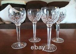 Waterford Crystal Lismore Set Of 4 Vintage Signed Wine Hock Goblets Glasses