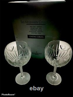 Waterford Crystal Love Millennium 8 Toasting Balloon Wine Goblets Hearts Set 2
