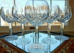 Waterford Lismore Balloon Wine Glass set of 6 Excellent Condition 7 1/4