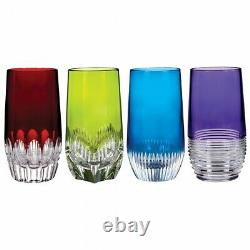 Waterford Mixology Assorted Colored HiBall, Set of 4 Red green blue purple NIB