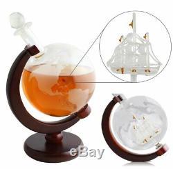 Whiskey Decanter SET 1000ml0f Liquor Scotch Wine /Globe World Glasses Stone Gift