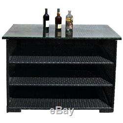 Wicker Patio Pool Bar Buffet Counter Serving Table Wine Glass Bottle Storage Set