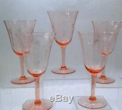 Wine Glasses Vintage Depression Pink Glass Fine Quality Optic Ribs Cuttings Set