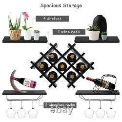 Wine Storage Rack Shelves Set Wall Mount Glass Holder Home Bar Organizer Black