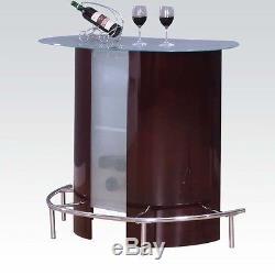 Wine Tempered Glass Top Bar Table Black Swivel Adjustable Stools Home Pub Set