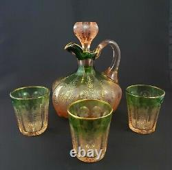 Wine or Cordial Decanter Set with3 Tumblers Early 20th Cent. Bohemian