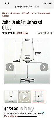 Zalto Denk'Art Universal Glass Boxed set of 6 New in box